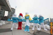 NEW YORK, NY - MARCH 18: Smurfs at the United Nations Headquarters celebrating International Day of Happiness in conjunction with SMURFS: THE LOST VILLAGE on March 18, 2017 in New York City. (Photo by Cindy Ord/Getty Images for Sony Pictures)