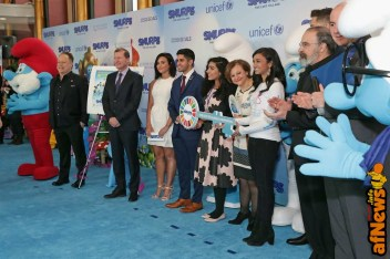 NEW YORK, NY - MARCH 18: (L-R) Director Kelly Asbury, Belgian Ambassador to the UN Marc Pecsteen de Buytswerve, Demi Lovato, Karan Jerath, Noor Samee, Under-Secretary-General for Communications and Public Information Cristina Gallach, Sarina Divam, Joe Manganiello, Mandy Patinkin, and OCSS Assistant-Secretary-General Stephen Cutts at the United Nations Headquarters celebrating International Day of Happiness in conjunction with SMURFS: THE LOST VILLAGE on March 18, 2017 in New York City. (Photo by Cindy Ord/Getty Images for Sony Pictures)