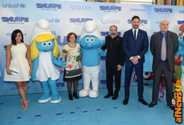NEW YORK, NY - MARCH 18: (L-R) Demi Lovato, Under-Secretary-General for Communications and Public Information Cristina Gallach, Mandy Patinkin, Joe Manganiello, and OCSS Assistant-Secretary-General Stephen Cutts at the United Nations Headquarters celebrating International Day of Happiness in conjunction with SMURFS: THE LOST VILLAGE on March 18, 2017 in New York City. (Photo by Andrew Toth/Getty Images for Sony Pictures)