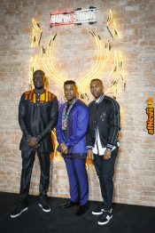 "LONDON, ENGLAND - FEBRUARY 08: Stormzy, John Boyega and Daniel Sturridge attend the European Premiere of Marvel Studios' ""Black Panther"" at the Eventim Apollo, Hammersmith on February 8, 2018 in London, England. (Photo by Gareth Cattermole/Getty Images for Disney) *** Local Caption *** Stormzy; John Boyega; Daniel Sturridge"