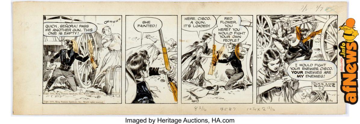 Jose Luis Salinas Cisco Kid Daily Comic Strip Original Art dated 7-2-51