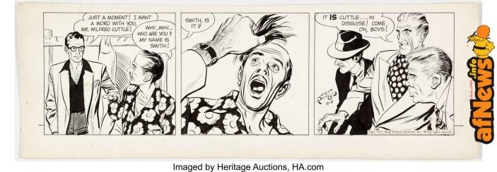 Alex Raymond Rip Kirby Daily Comic Strip Original Art dated 2-2-51-afnews-afnews