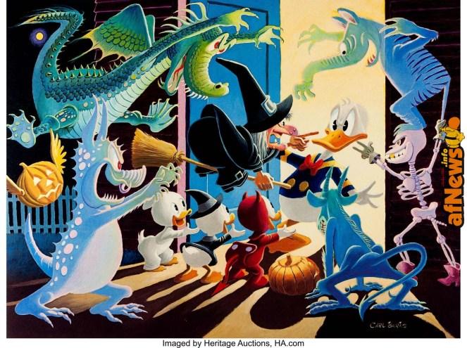 Carl Barks Halloween in Duckburg Signed Limited Edition Lithograph 196-395-afnews-afnews