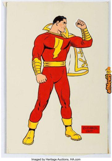 CC Beck Captain Marvel SHAZAM Full-Figure Portrait Original Art 1977-afnews