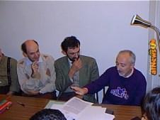 Giorgio Figus, Alberto Arato, Bruno Sarda. Trio di sceneggiatori.