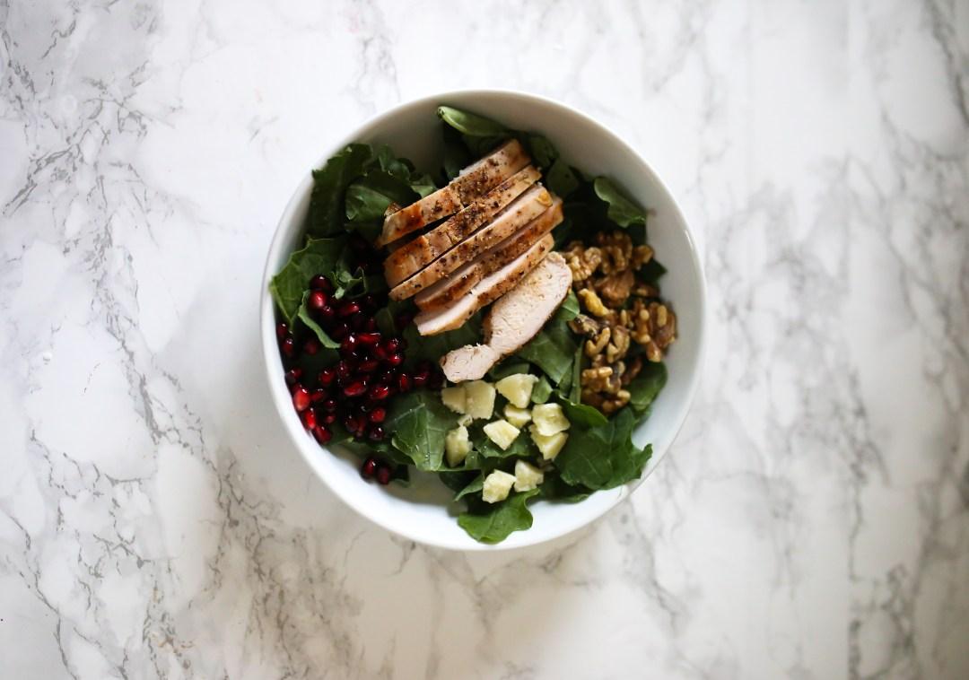 kale salad with pomegranates