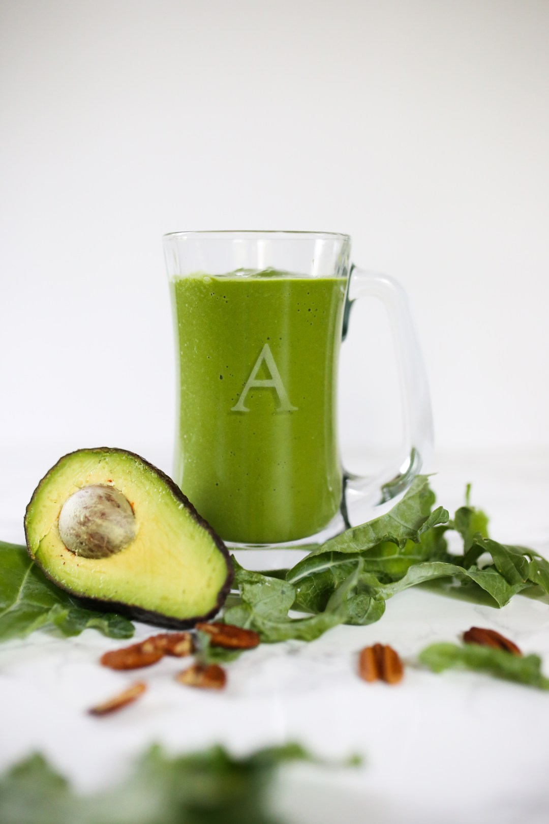 Green smoothie in clear glass