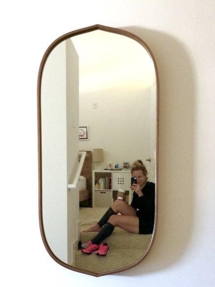crate and barrel Penarth Walnut Oval Wall Mirror