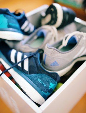 box of adidas running shoes