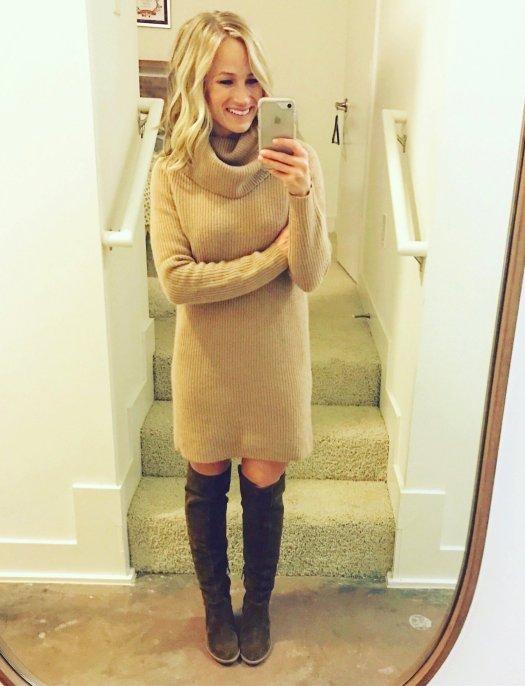 ralph lauren wool-cashmere turtleneck dress