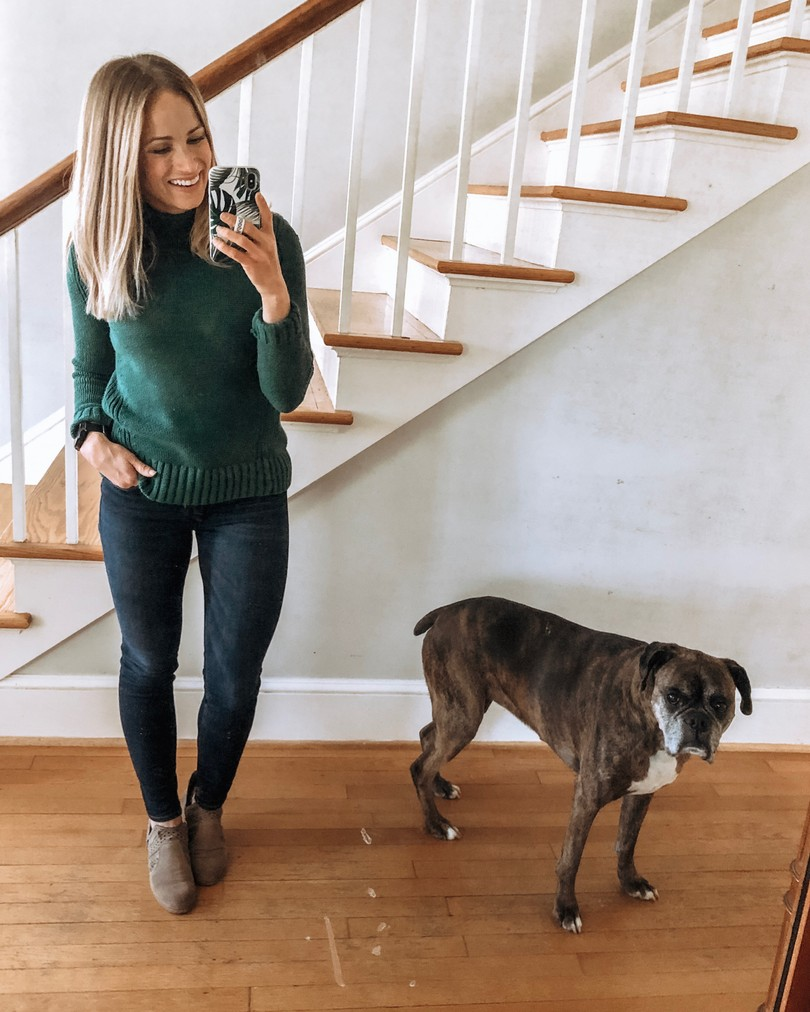Fall wardrobe staples: green sweater outfit
