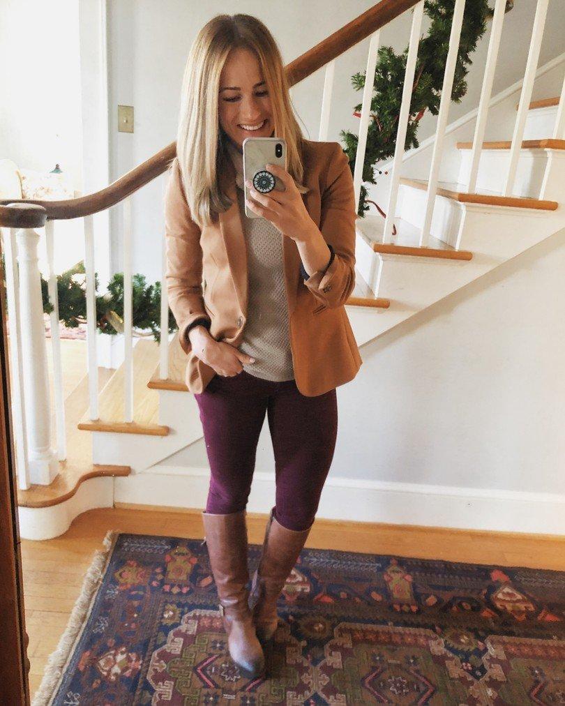 Fall wardrobe staples: brown blazer outfit