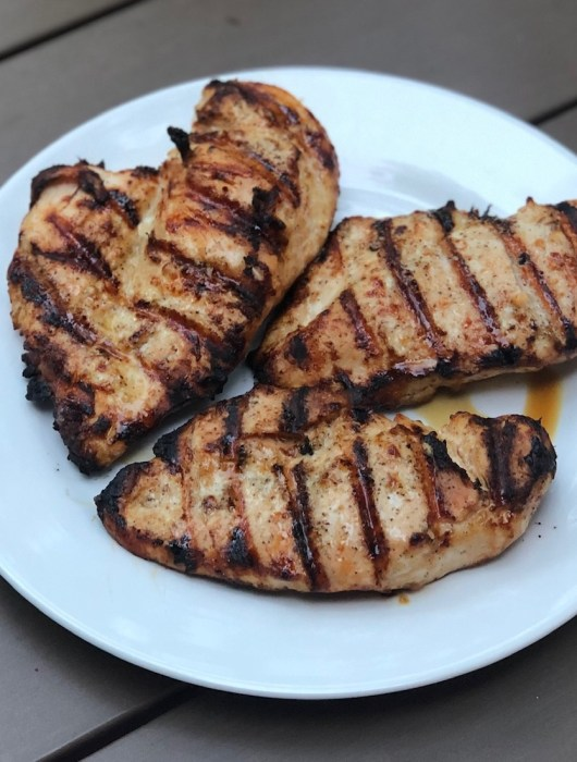 plated grilled chicken breasts