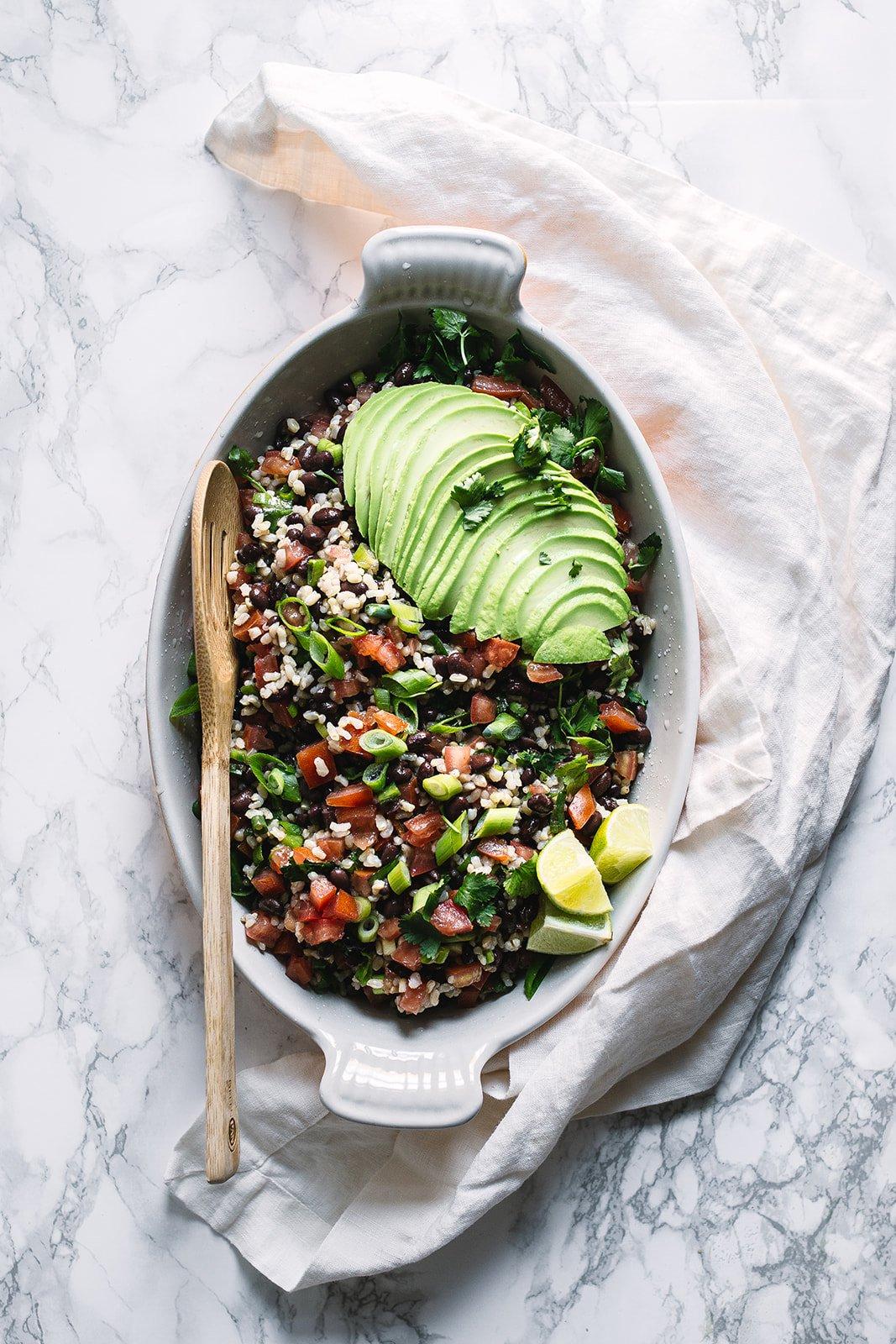 Brown Rice & Black Bean Salad with Avocado & Cilantro