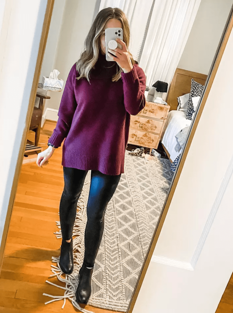 panx faux leather leggings   February Outfit Roundup