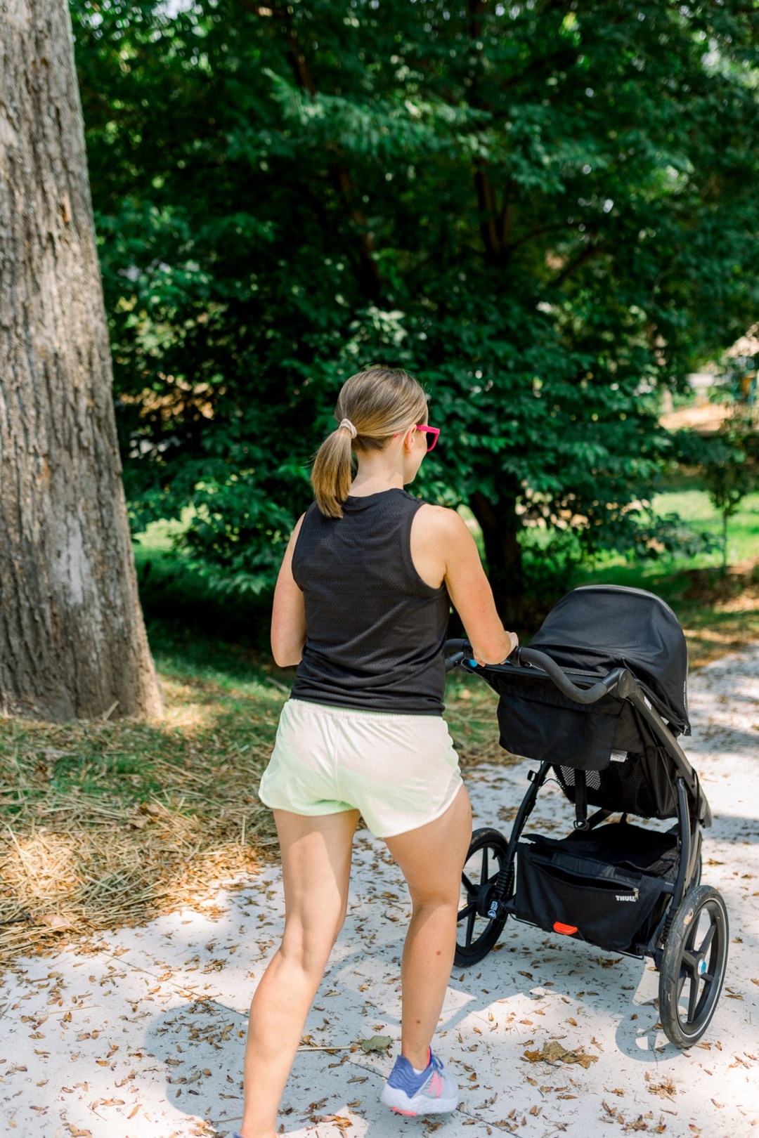 Jogging stroller with baby