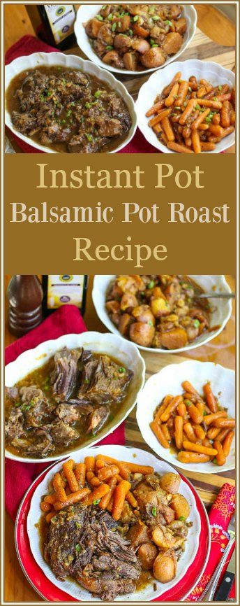 With just a few steps, this Instant Pot Balsamic Pot Roast can be made in your kitchen in less than an hour. The delicious roast will come out juicy and tender, paired with flavorful carrots and potatoes for the perfect comfort meal that your whole family will enjoy.