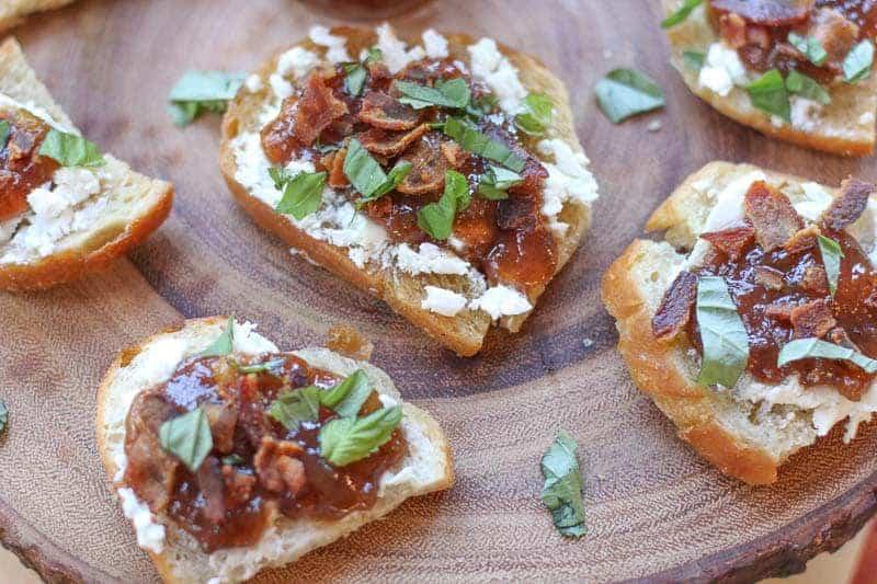 Bacon Fig Jam, and Goat Cheese Bruschetta Recipe