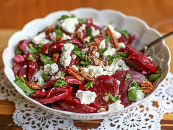 In this Mediterranean Beet Salad, the beets are marinated in balsamic vinegar; then tossed with olive oil, parsley, roasted pecans, goat cheese, salt, and pepper. The result is PERFECTION!
