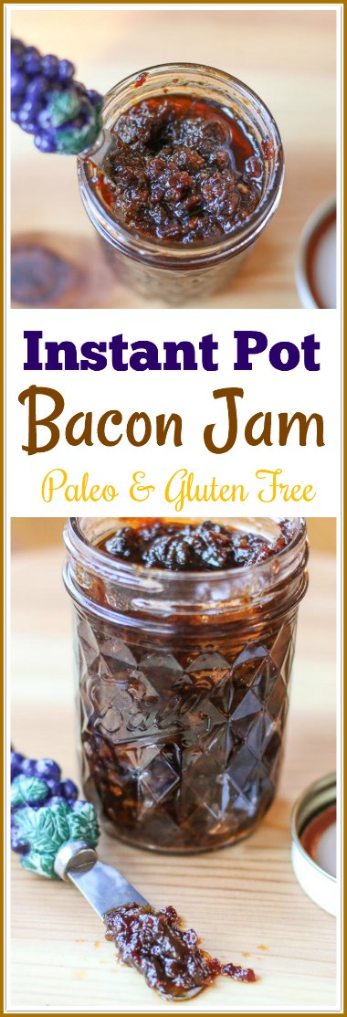 This sweet and salty #Paleo #InstantPot #BaconJam will be your new favorite condiment. It is delicious on burgers, eggs, layered over cheese, or licked directly off a spoon. If you are not on a Paleo diet, it is also fantastic on toast.
