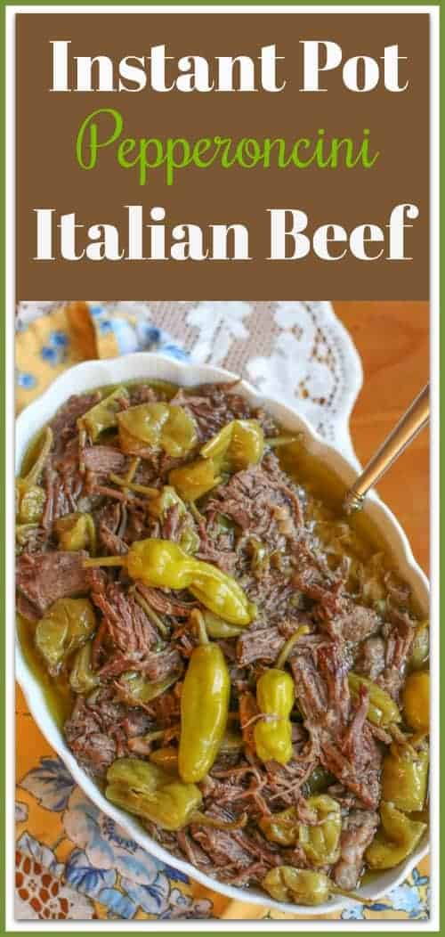Italian Beef is a delicious, spicy pepperoncini roast. It is great as an entree by itself or served on a hoagie roll as a sandwich. This Italian Beef recipe is made with only 4 Ingredients in the Instant Pot. It is an easy dinner recipe perfect for those busy weeknights or for Sunday family dinners.