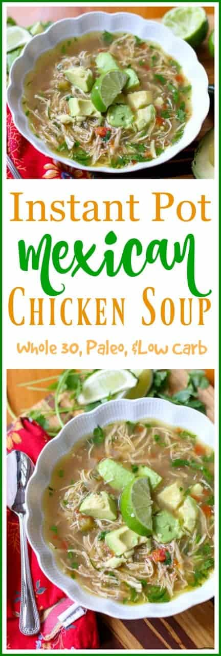 #MexicanChickenSoup is flavorful soup made with lime, cilantro, onion, and a jalapeño to spice it up! It is topped with a fresh slice of avocado and served with a side of rice. You can find it at your favorite Mexican restaurant or make this #InstantPot #SpicyChickenSoup recipe to enjoy at home.