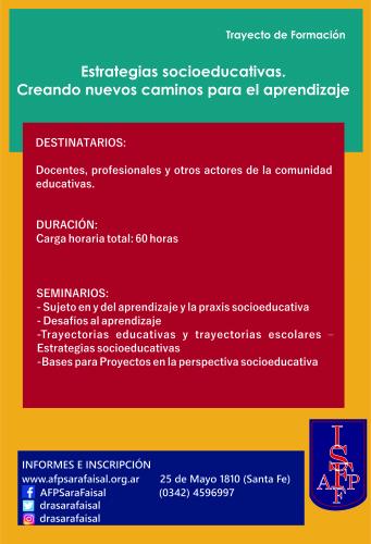 Trayecto de Formación «Estrategias socioeducativas. Creando nuevos caminos para el aprendizaje»
