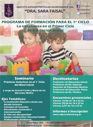 """Seminario """"Prácticas Inclusivas en el 1° Ciclo del Nivel inicial"""""""