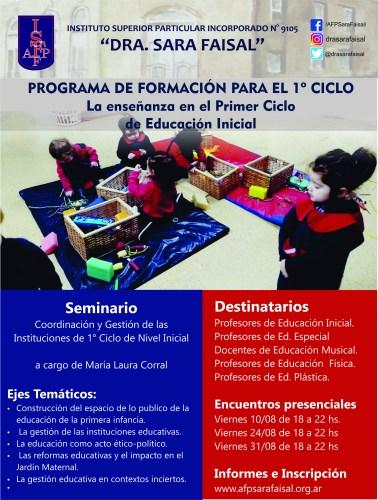 """Seminario """"Coordinación y Gestión de las Instituciones de 1° Ciclo de Nivel Inicial"""""""
