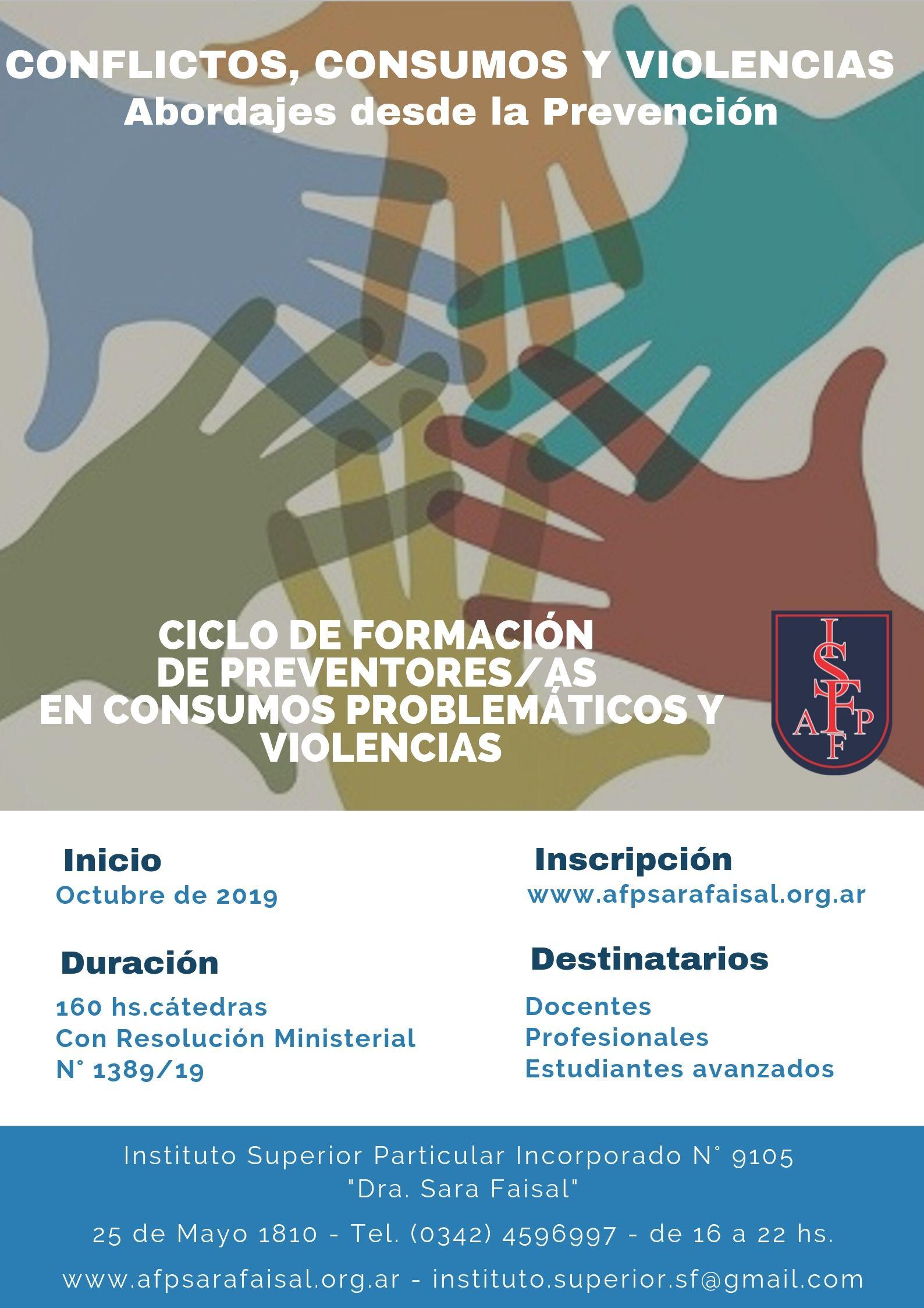 Ciclo de Formación de Preventores/as en consumos problemáticos y violencias «Conflictos, consumos y violencias: Abordajes desde la Prevención»