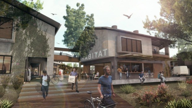 Easy walking - and cycling - distance of the beach: an artist's rendering of Byron Bay's new mixed-use business hub, Habitat.