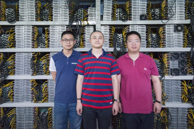 Bitcoin miners Wang Ruixi, joint manager of the Kangding facility, Melbourne businessman Ryan Xu and investor Boris Shen.
