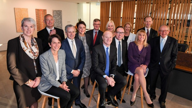 From left to right standing: Diane Smith-Gander, John Lydon, Andy Penn, Kathryn Fagg, Dr Martin Parkinson, Meredith ...