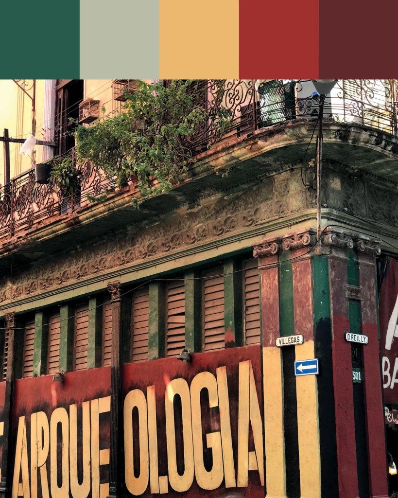 Cuban colour palette inspiration: Habana Vieja signage typography