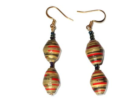 Handmade Stay Cheerful Green Red Black Stripes Earrings for women