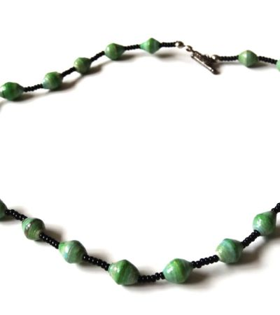 Green Unique Handmade Paper bead recycled Necklace
