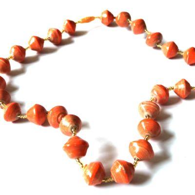 Orange Unique Handmade Paper bead recycled Necklace