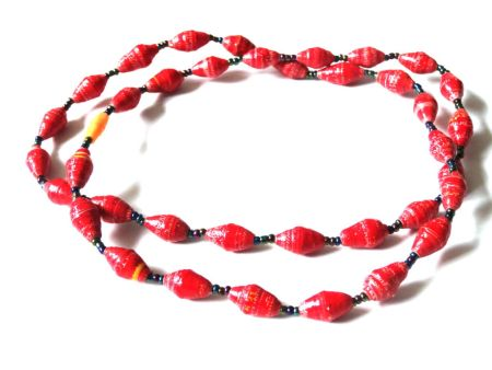 Red Unique Handmade Paper bead recycled Necklace