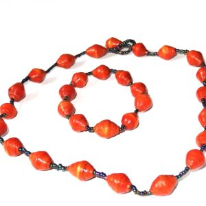 Handmade Cherry Cola Red Necklace Bracelet Set