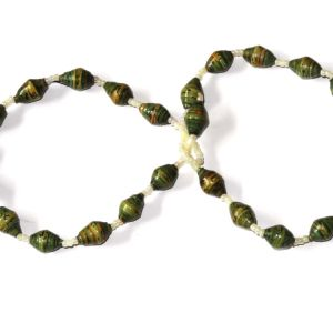 Green Unique Handmade Paper bead recycled Bracelet