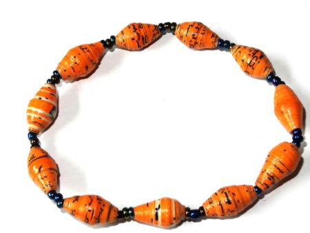 Yellow Orange Unique Handmade Paper bead recycled Bracelet