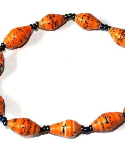 Yellow Orange Unique Handmade Paper bead recycled Bracelet
