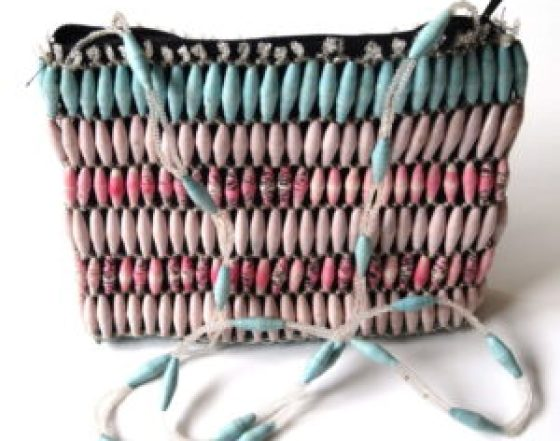 Handmade Beaded Angelic Pink Blue Bead Handbags
