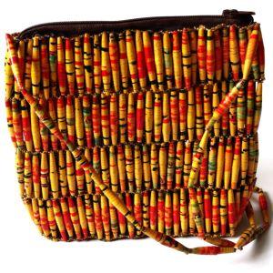 Handmade Vintage Yellow Red Bead Handbags Bag Medium Yellow v1