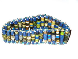 Multicoloured Blue Unique Handmade Paper bead recycled Bracelet