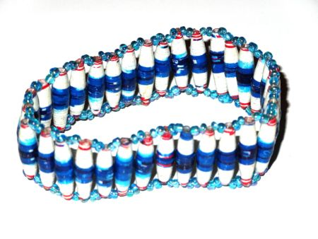 Blue white Unique Handmade Paper bead recycled Bracelet