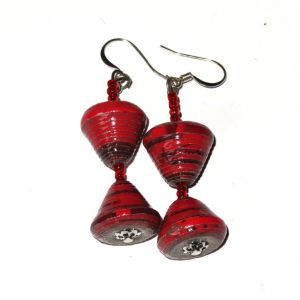Dark Red Unique Handmade Paperbead recycled Earring