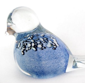 Glass Bird Light Blue Black Spots