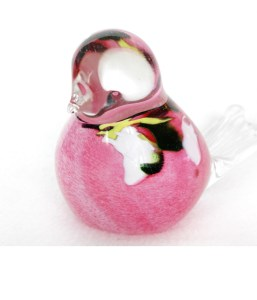 Glass Bird Pink Flower