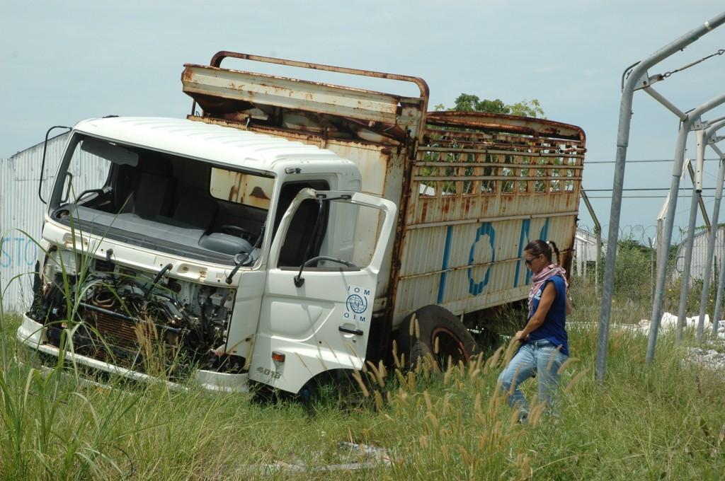 Camion IOM distrutto
